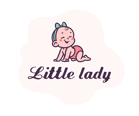 Little lady logotype with cute small baby girl silhouette in head bow crawl laughing isolated on white background.