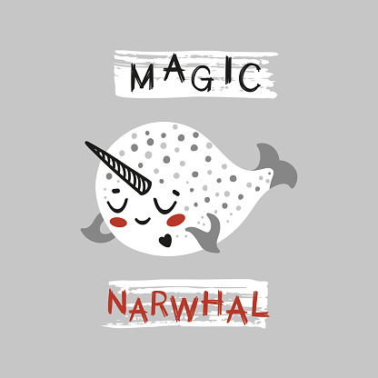 Little Magic Narwhal. Cute Narwhal for Tee Print Design for Kids. Vector Cartoon Baby Sea Animal. Scandinavian Card, Print or Poster Design