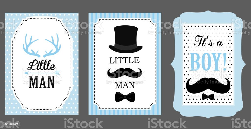 Little Man Birthday Party Baby Shower Party Vector Poster Bow Tie ...