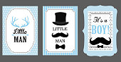 Little man birthday party. Baby shower party. Vector poster: bow tie, hat and mustache design elements.