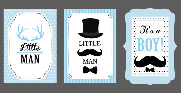 Little man birthday party. Baby shower party. Vector poster: bow tie, hat and mustache design elements. Black, blue, white - classic pattern. Set of boy's invitation (badge, sticker, frame) templates. baby boys stock illustrations
