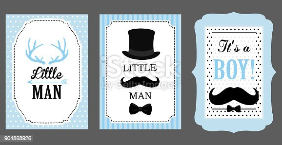 little man birthday party baby shower party vector poster