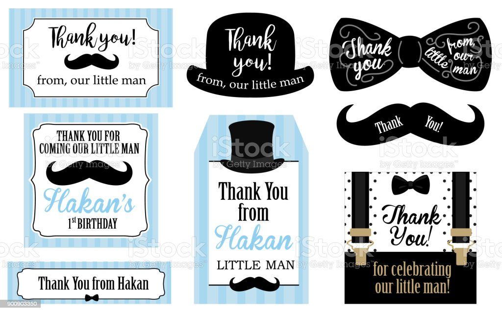 Little man birthday party ( Baby shower party) tags. Thank you favor card. Vector bow tie and suspenders. vector art illustration
