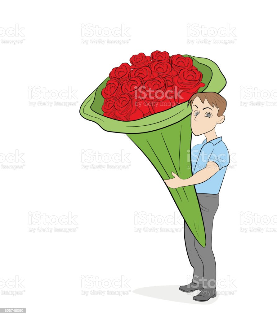 A Little Man Holding A Large Bouquet Of Flowers Hand Drawn Cartoon ...