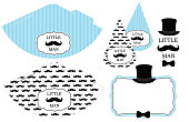 Little man's printable hats. Black and white mustache pattern. Print and cut.