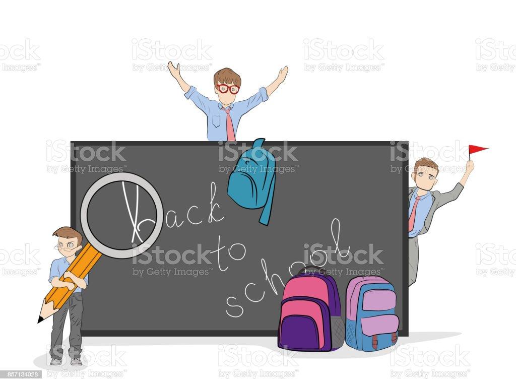 Poco hombres (maestros) están invitados a regresar a la escuela. Mano dibujado cartoon vector ilustración para el diseño y la infografía. - ilustración de arte vectorial