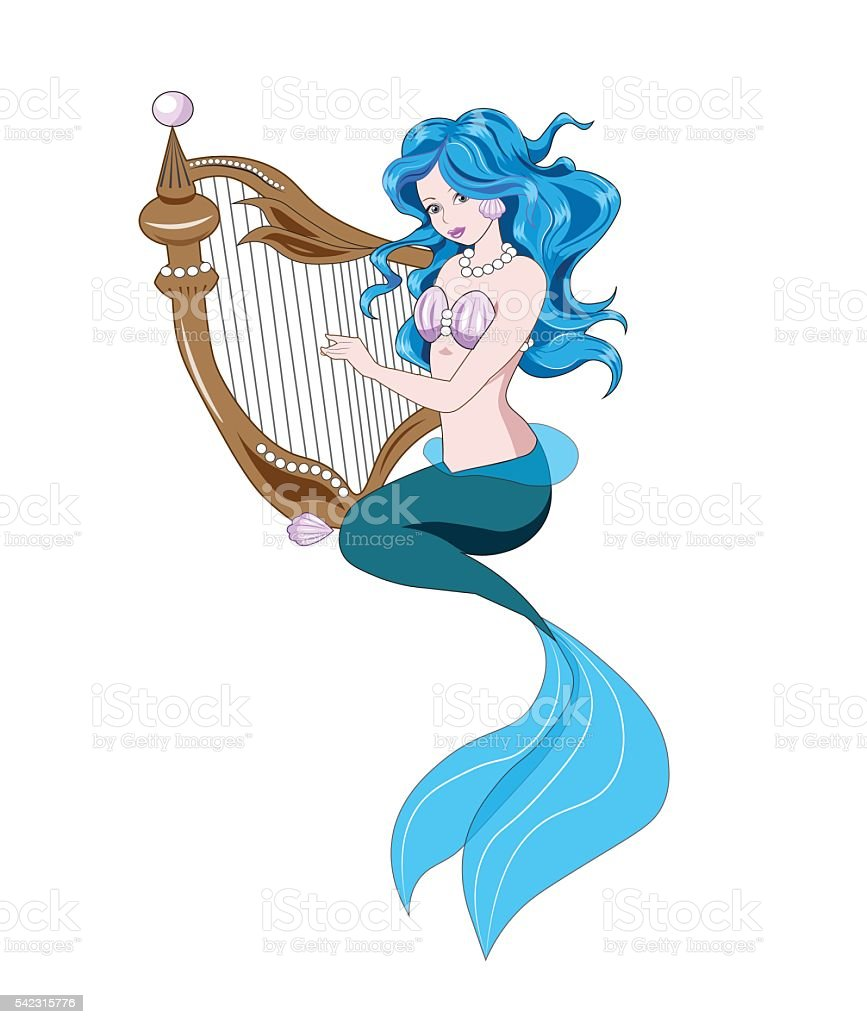 Little Mermaid and harp vector art illustration