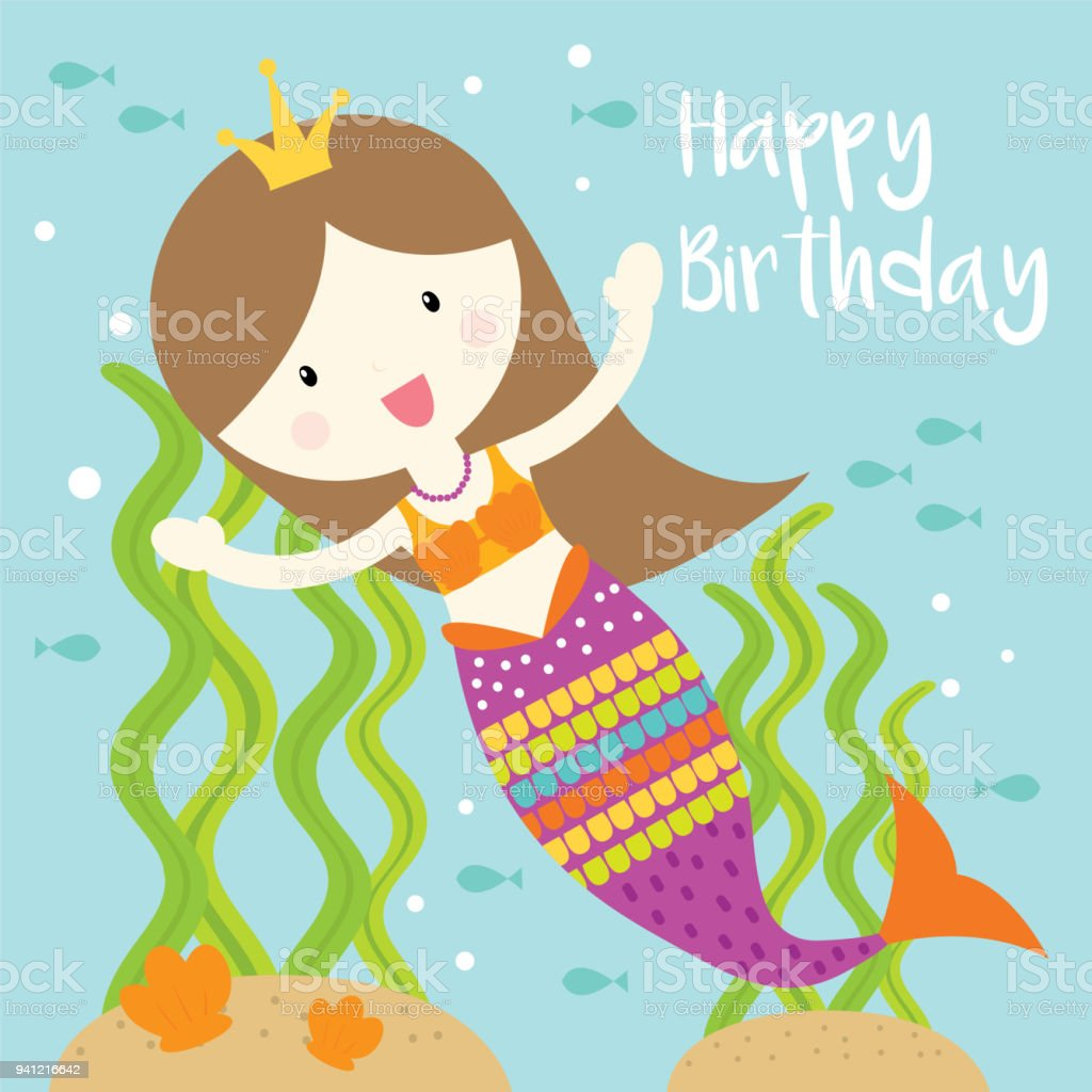 Little Mermaid Birthday Greeting Card Stock Vector Art More Images