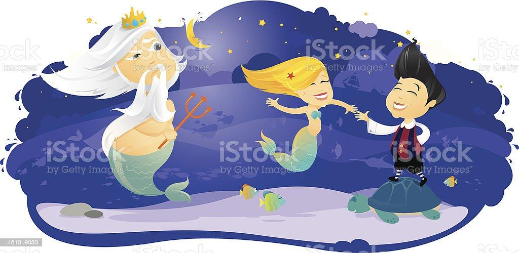 Little Mermaid dancing royalty-free stock vector art