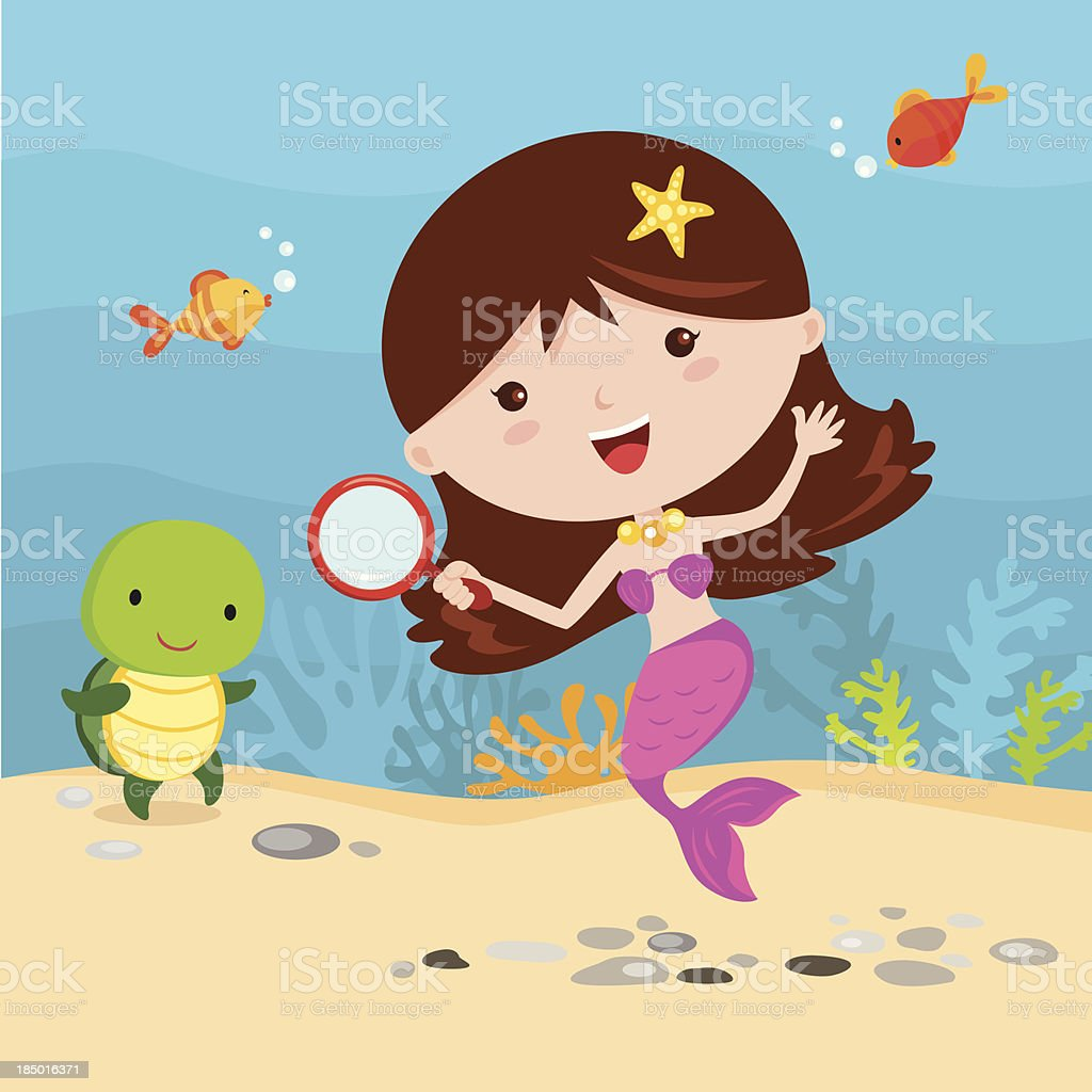 Little mermaid with friends royalty-free stock vector art