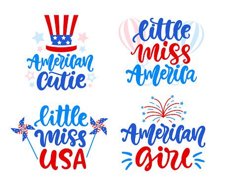 Little Miss America, american girl hand written lettering set