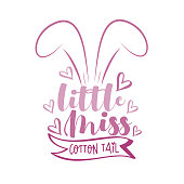 Little Miss Cotton Tail - cute bunny ears with hearts. Good for T shirt print, baby room decor, greeting card, textile print and gifts design.