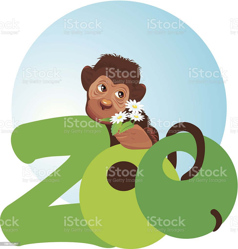 little monkey with flowers in its hand royalty-free stock vector art