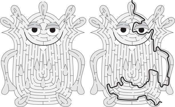 Labirinto de monstro pequeno - ilustração de arte em vetor