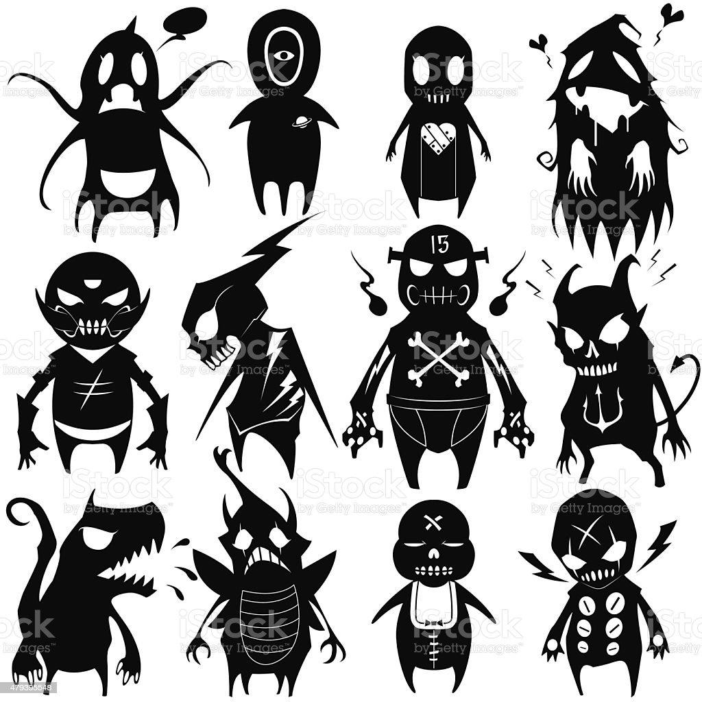 Little Monsters set 05 vector art illustration