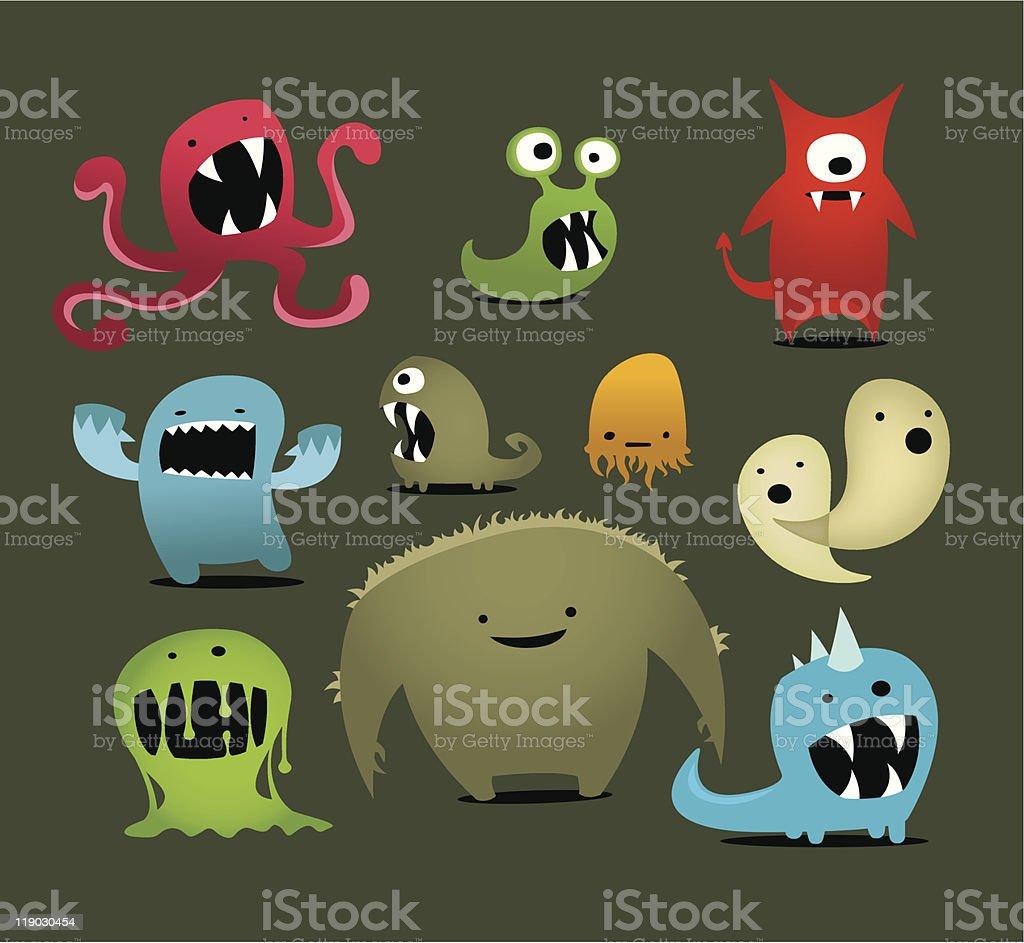 Little Monsters vector art illustration