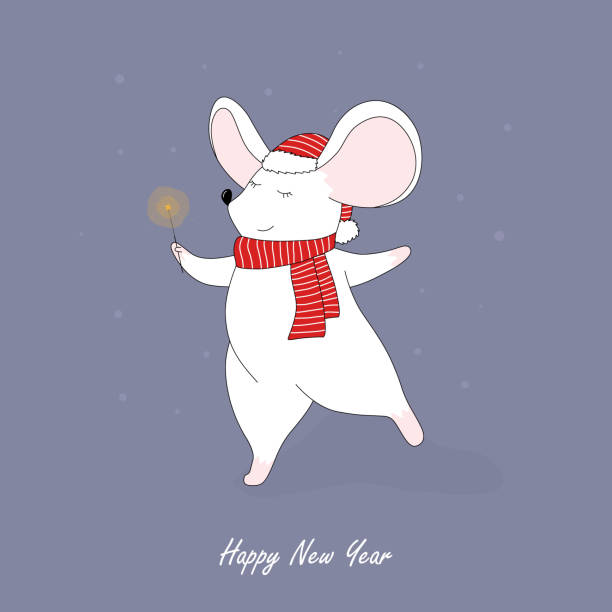 little mouse in a red santa hat and scarf. Christmas and New Year card, t-shirt composition, handmade vector illustration. – artystyczna grafika wektorowa