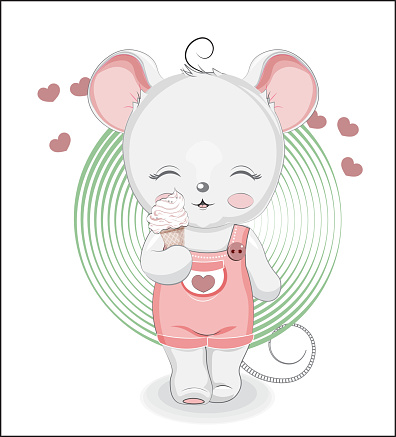 little mouse with ice cream
