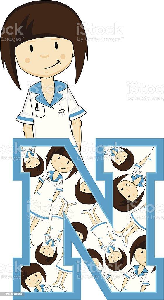 Little Nurse Patterned Learning Letter N royalty-free stock vector art