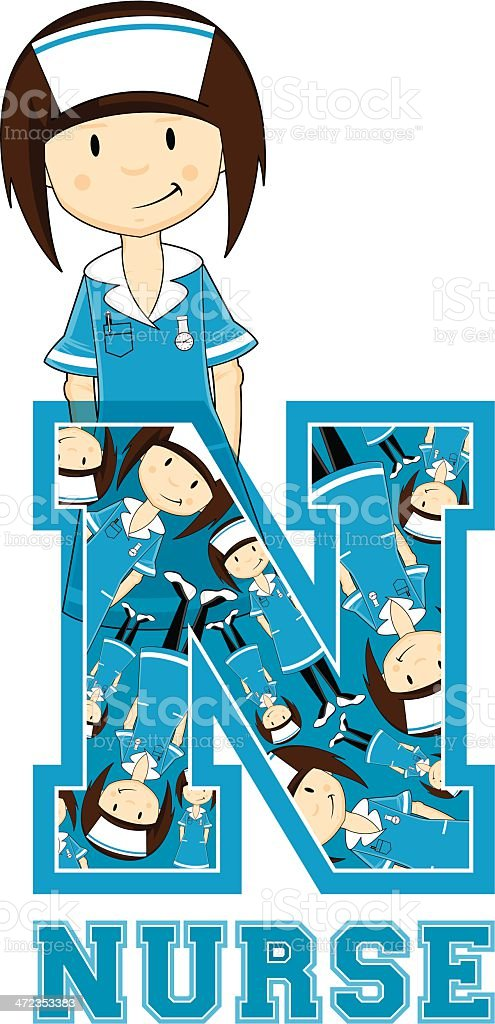 Little Nurse Patterned Learning Letter N royalty-free stock vector art