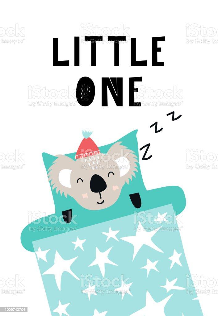 Kleine Ein Süße Hand Gezeichnete Kindergartenplakat Mit Schlafender
