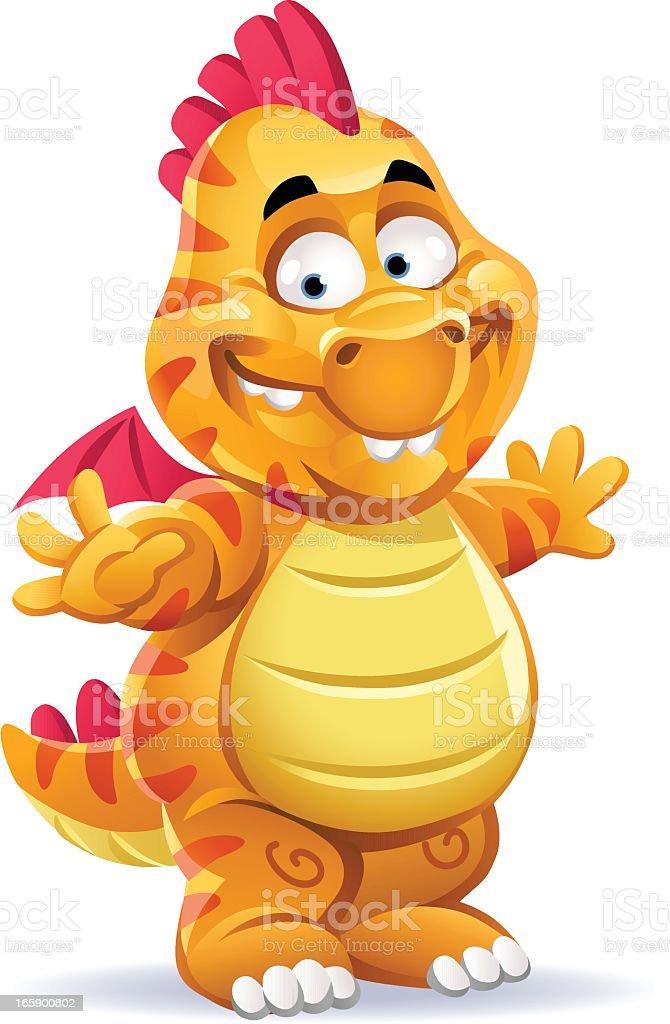 Little Orange Dragon vector art illustration