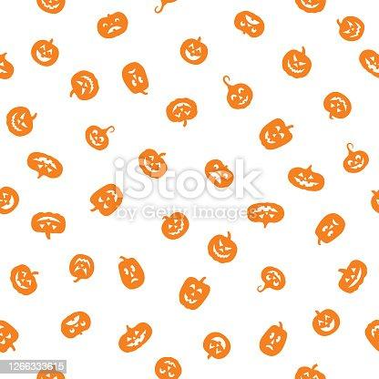 istock Little Orange Pumpkins White 1266333615
