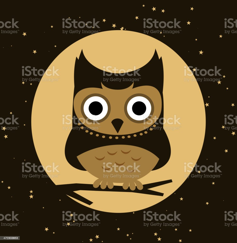 Little Owl Perching at night royalty-free stock vector art