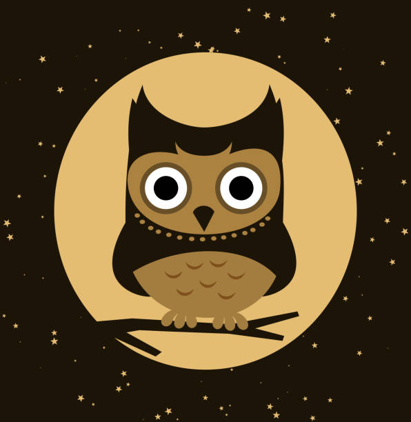 little owl perching at night - great horned owl stock illustrations, clip art, cartoons, & icons