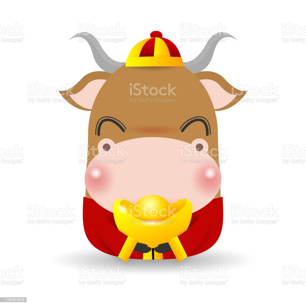 Little Ox With Holding Chinese Gold Happy Chinese New Year ...