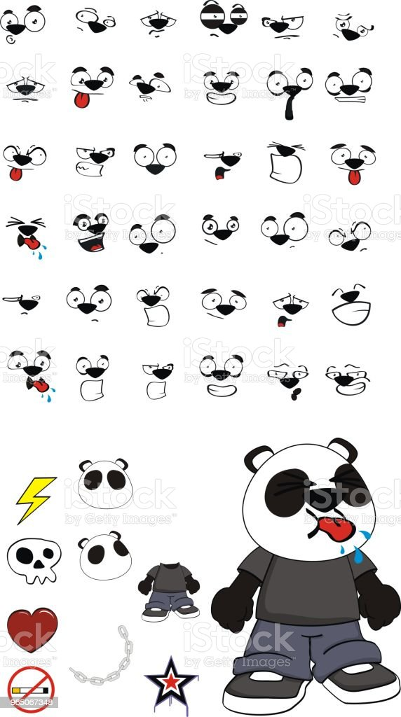 little panda bear kid expressions set royalty-free little panda bear kid expressions set stock vector art & more images of angel