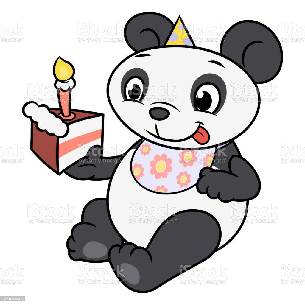 Little Panda Eating Birthday Cake 2 Stock Vector Art More Images
