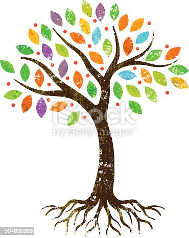 istock Little park tree with roots. 504695968