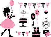 A set of party themed icons for a little princess. Click below for more kid's stuff and party images.