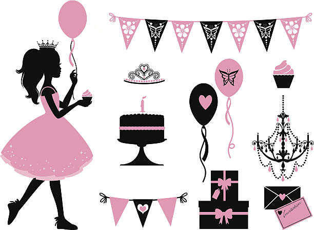 Little Party Princess A set of party themed icons for a little princess. Click below for more kid's stuff and party images. cake silhouettes stock illustrations
