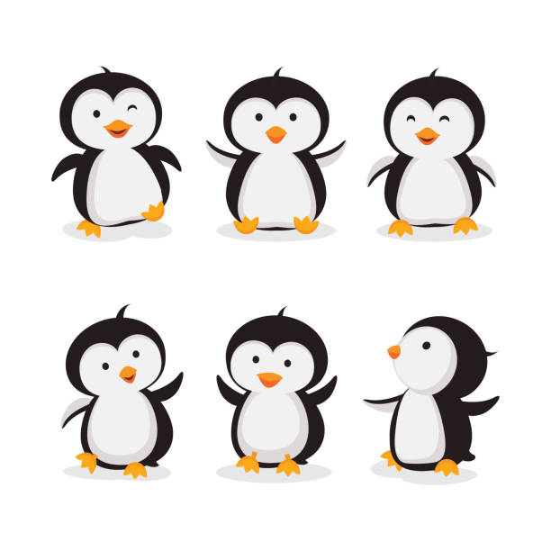 little penguins vector - penguin stock illustrations
