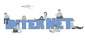 Little people near the word internet. Concept of youth communication. vector illustration.