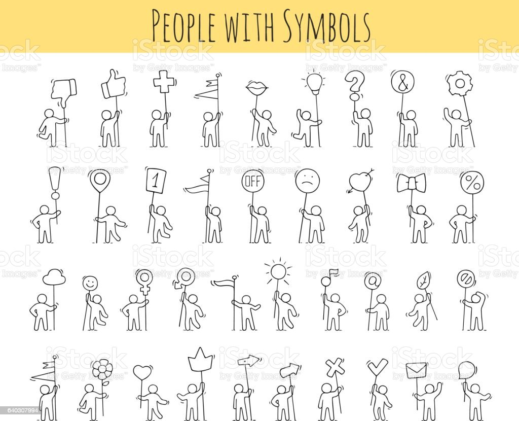 little people with life symbols - Illustration vectorielle