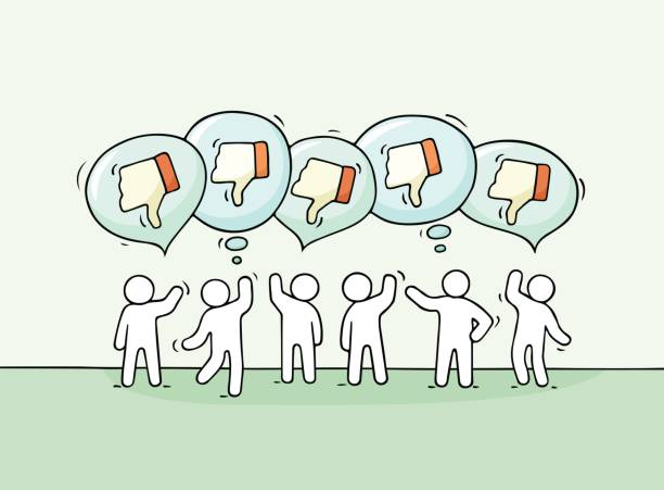 little people with speech bubbles and dislikes. Crowd of working little people with speech bubbles and dislikes. Doodle cute miniature scene with positive messages. Hand drawn cartoon vector illustration for internet design and infographic. infamous stock illustrations