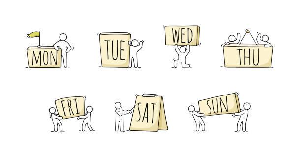 illustrations, cliparts, dessins animés et icônes de petites personnes avec des tags 7 jours de la semaine du lundi au dimanche. ensemble de dessin animé pour la conception de planificateur. - calendrier de l'avant