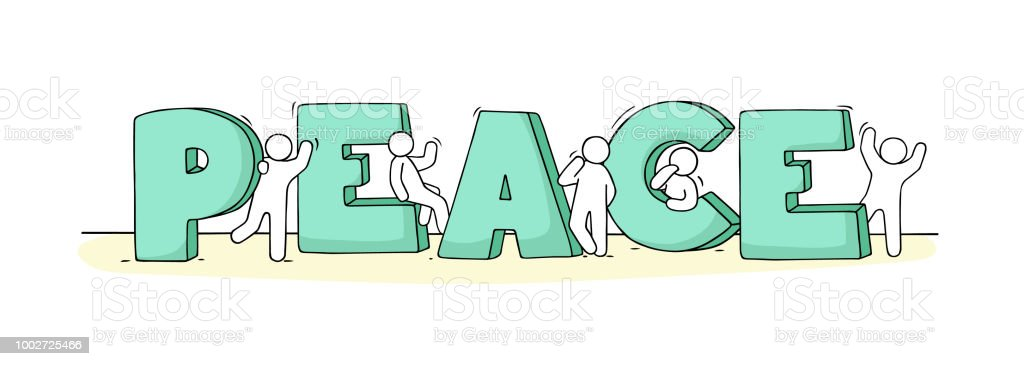 Little People With Word Peace Stock Vector Art More Images Of
