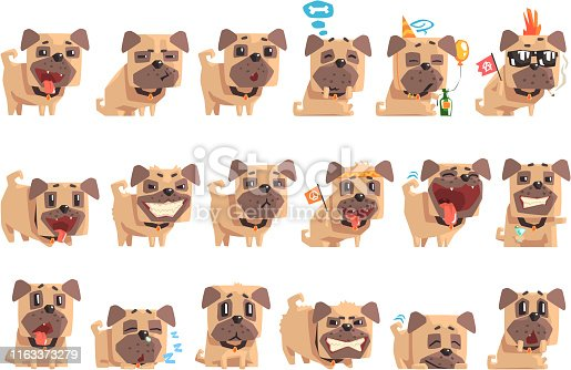 istock Little Pet Pug Dog Puppy With Collar Set Of Emoji Facial Expressions And Activities Cartoon Illustrations 1163373279