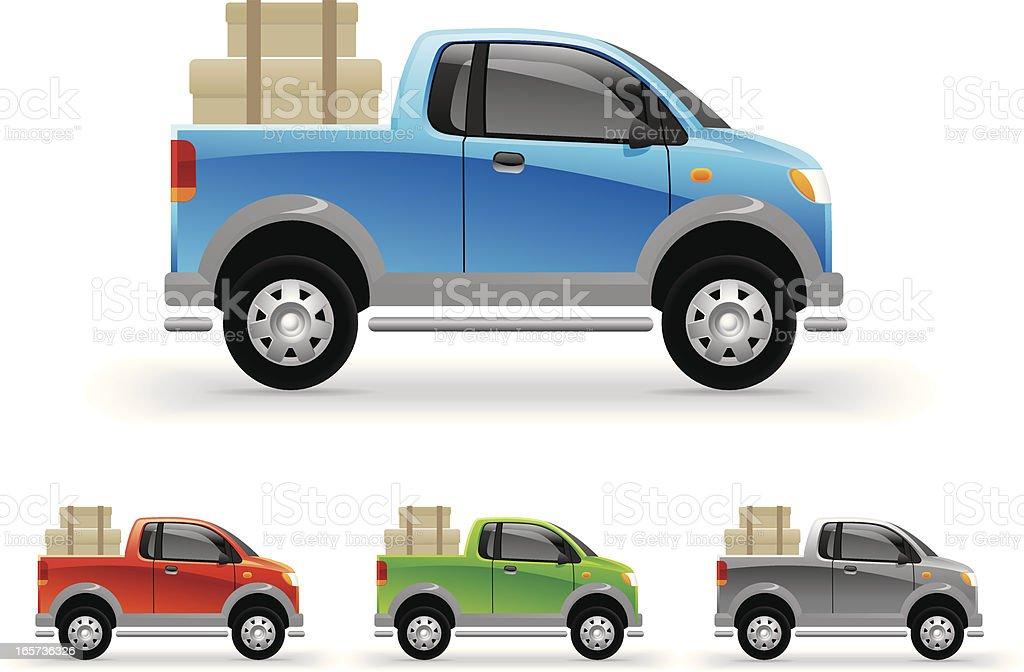 Little pickup vector art illustration