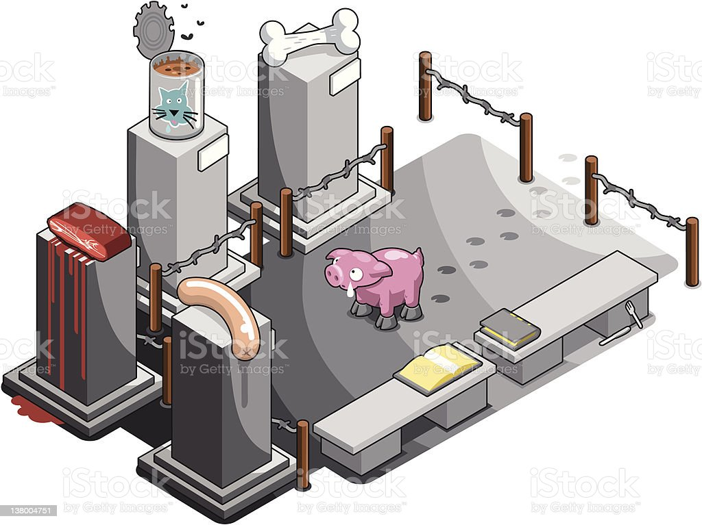 Little pig and its late relatives vector art illustration