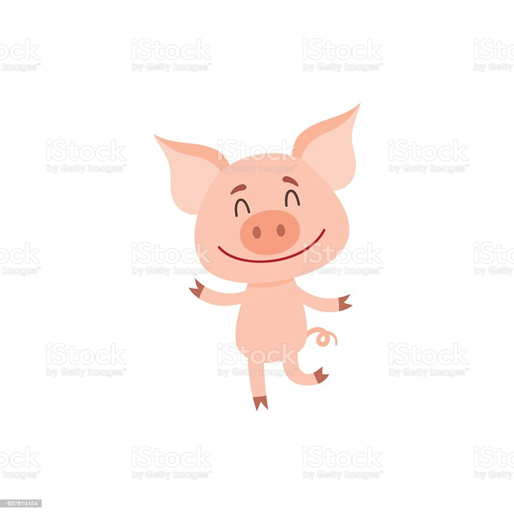 Little pig dancing on two rear legs with eyes closed vector art illustration
