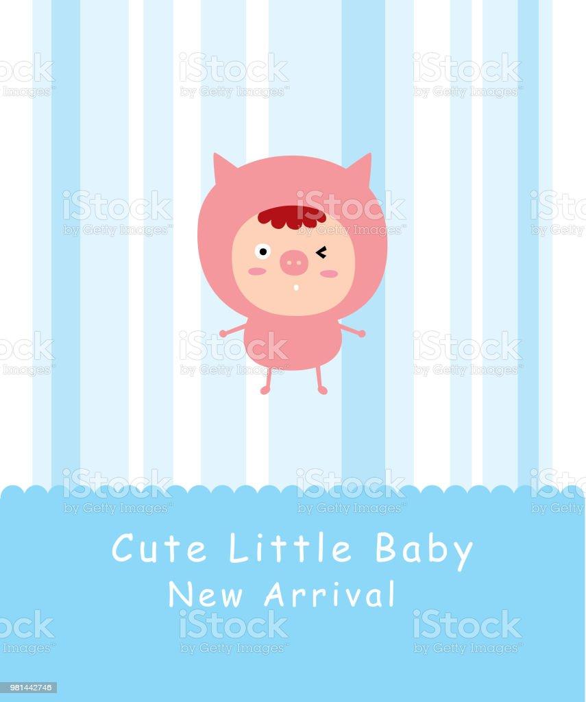 Ilustração De Porquinho Doodle Vetor De Cartões Chegada Bebê E Mais
