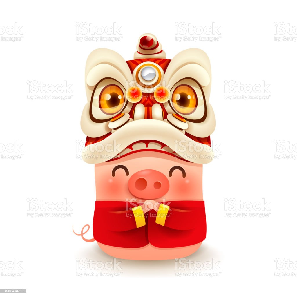 Little Pig with Chinese New Year Lion Dance Head vector art illustration