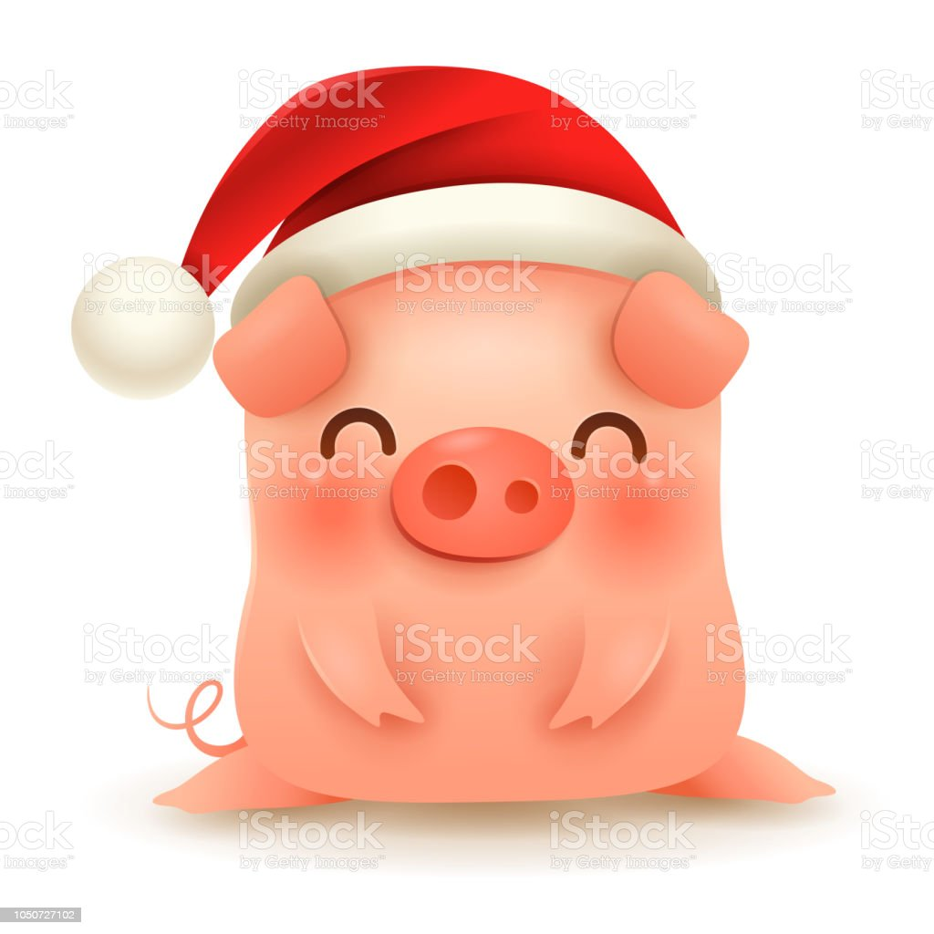 little pig with christmas santas red cap happy new year royalty free little