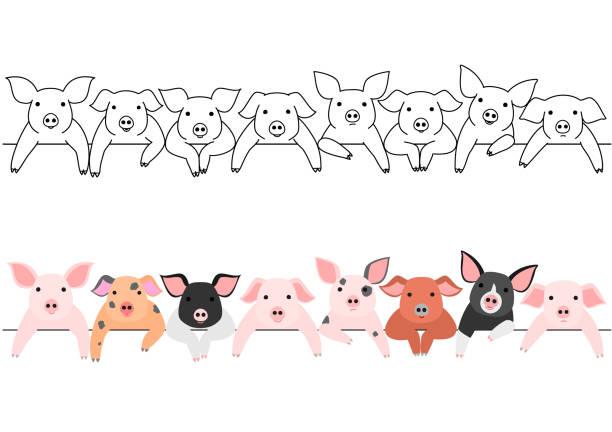 little pigs border set vector art illustration