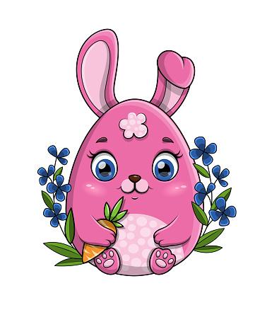 Little pink cartoon bunny rabbit holding a carrot